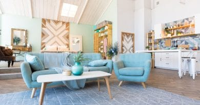 old retro blue lounge suite| Dressed to impress for inspections
